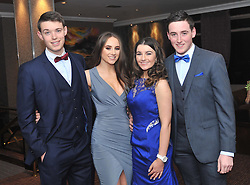 Barry Duffy, Shona Kennedy, Ellen O'Connell and Colin Coyne pictured at the Kilmeena Gaa Club's Valentine's dinner dance at the Westport Woods Hotel. <br />Pic Conor McKeown