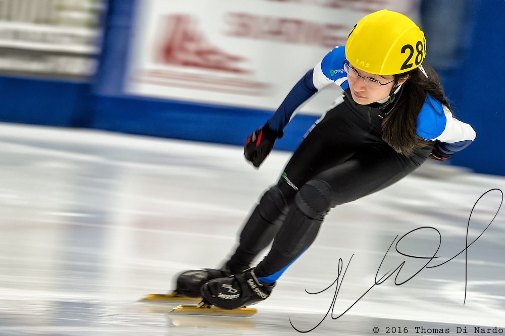 March 20, 2016 - Verona, WI - Christine Lee, skater number 289 competes in US Speedskating Short Track Age Group Nationals and AmCup Final held at the Verona Ice Arena.