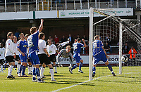 Photo: Steve Bond/Richard Lane Photography. Hereford United v Leicester City. Coca Cola League One. 11/04/2009. Matt Oakley scores for Leicester - beyond the despairing dive of keeper Peter Gulacsi