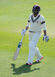 Dejection for Somerset's Abdur Rehman after being dismissed.  - Photo mandatory by-line: Harry Trump/JMP - Mobile: 07966 386802 - 07/04/15 - SPORT - CRICKET - Pre Season - Somerset v Lancashire - Day 1 - The County Ground, Taunton, England.