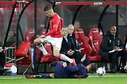 (L-R) Jamie Jacobs of AZ Alkmaar U23, Mitchell Dijks of Ajax U23