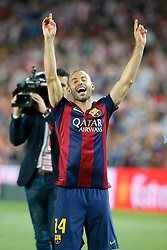 30.05.2015, Camp Nou, Barcelona, ESP, Copa del Rey, Athletic Club Bilbao vs FC Barcelona, Finale, im Bild FC Barcelona's Javier Mascherano celebrates the victory // during the final match of spanish king's cup between Athletic Club Bilbao and Barcelona FC at Camp Nou in Barcelona, Spain on 2015/05/30. EXPA Pictures &copy; 2015, PhotoCredit: EXPA/ Alterphotos/ Acero<br /> <br /> *****ATTENTION - OUT of ESP, SUI*****
