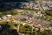 Aerial photograph of the Madison Metropolitan Sewage Treatment Plant, Madison, Wisconsin on a summer morning.