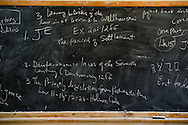 A chalkboard in a classroom at the Mekane Yesus Seminary on Monday, Nov. 10, 2014 in Addis Ababa, Ethiopia. LCMS Communications/Erik M. Lunsford