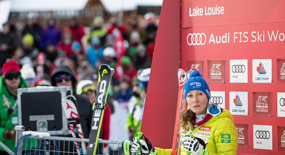 Athletes compete in the women's downhill at the Alpine Skiing FIS World Cup in Lake Louise, Canada on Dec 3, 2016.