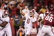 FAYETTEVILLE, AR - OCTOBER 11:  Blake Sims #6 of the Alabama Crimson Tide throws a pass against the Arkansas Razorbacks at Razorback Stadium on October 11, 2014 in Fayetteville, Arkansas.  The Crimson Tide defeated the Razorbacks 14-13.  (Photo by Wesley Hitt/Getty Images) *** Local Caption *** Blake Sims