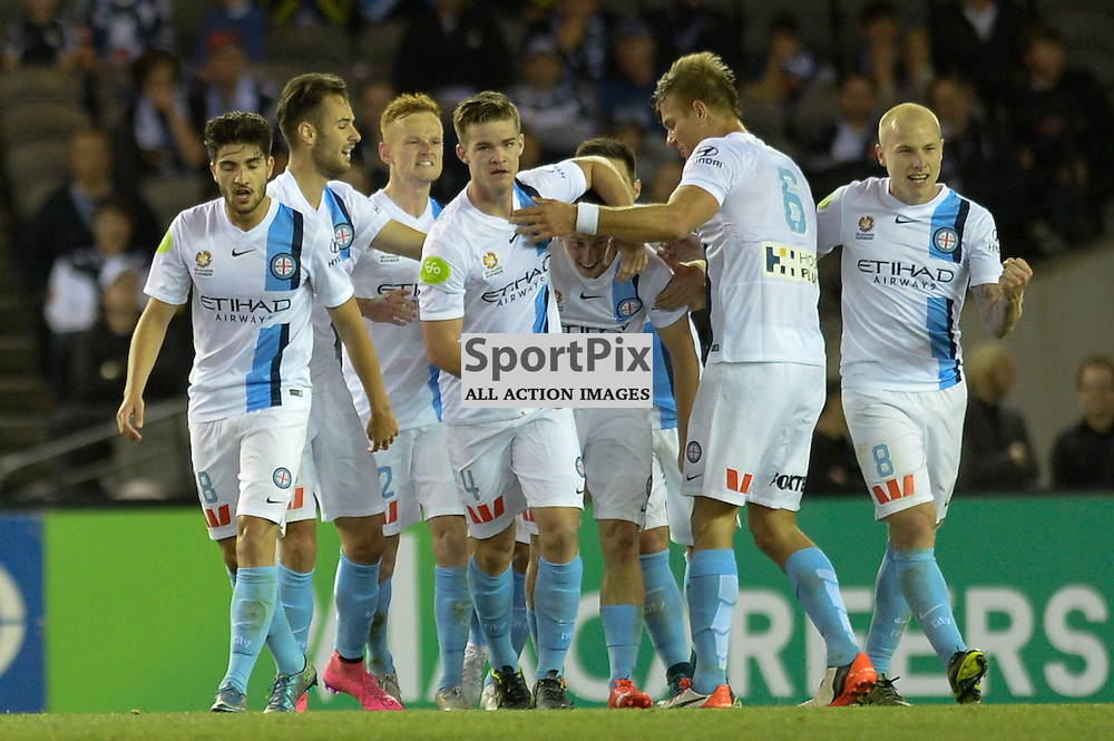 """City celebrate the equalising goal for city by Stefan Mauk of Melbourne City in the Hyundai A-League - October 17th 2015 - ROUND 2- Melbourne Victory FC v Melbourne City FC in the first derby for the 2015 season with a 3:2 win to Victory on the 90"""" - © Mark Avellino 