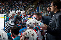 KELOWNA, CANADA - APRIL 26: Referee Derek Zalaski speaks to Kelowna Rockets' head coach Jason Smith during second period at the bench against the Seattle Thunderbirds on April 26, 2017 at Prospera Place in Kelowna, British Columbia, Canada.  (Photo by Marissa Baecker/Shoot the Breeze)  *** Local Caption ***