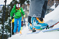 The Scarpa F1 ski boot on the skin track, Wasatch Mountains, Utah.