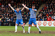 Michael Woods and Padraig Amond appeal to the referee during the EFL Sky Bet League 2 match between Cheltenham Town and Hartlepool United at Whaddon Road, Cheltenham, England on 29 April 2017. Photo by Carl Hewlett.
