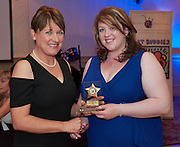 Best Buddy Special Recognition award Rachel Kerrigan NUIG presented by Ability West CEO Breda Crehan-Roche at the Ability West, Best Buddies ball at the Menlo Park Hotel, Galway. Photo:Andrew Downes Photography.