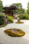 The sand and rock garden at the Kennin-ji Temple complex, Kyoto, Japan