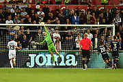 Bailey Peacock-Farrell (1) of Leeds United covering a shot during the EFL Sky Bet Championship match between Swansea City and Leeds United at the Liberty Stadium, Swansea, Wales on 21 August 2018.