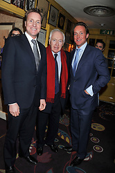 Left to right, HENRY BECKWITH, SIR JOHN BECKWITH and PIERS BECKWITH at the Johnnie Walker Blue Label and David Gandy partnership launch party held at Annabel's, 44 Berkeley Square, London on 5th February 2013.
