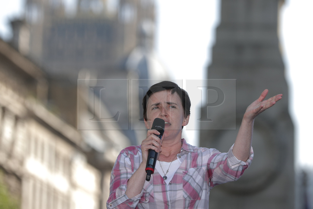 "© Licensed to London News Pictures . 06/05/2018. London, UK. ANNE MARIE WATERS speaks at the demo. Supporters of alt-right and anti-Islam groups, including Generation Identity and the Democratic Football Lads Alliance, demonstrate at Whitehall in Westminster, opposed by anti-fascists. Speakers billed in the ""Day for Freedom"" include former EDL leader Tommy Robinson, Milo Yiannopoulos, youtuber Count Dankula (Markus Meechan), For Britain leader Anne Marie Waters, UKIP leader Gerard Batten, Breitbart's Raheem Kassam and Lauren Southern. The event was originally planned as a march to Twitter's HQ in protest at their banning of Robinson and the Home Office's ban on Martin Sellner and Brittany Pettibone entering the UK, in what protesters describe as limits being imposed on free speech. Photo credit: Joel Goodman/LNP"
