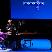 """March 9, 2013 - New York, NY : Pianist Anthony De Mare, with Daniel Sherman turning pages, performs  """"Liaisons II: Re-Imagining Sondheim From the Piano,"""" a series of Stephen Sondheim-inspired piano works at Symphony Space in Manhattan on Saturday night. Pictured here, De Mare and Sherman perform the world premiere of Eric Rockwell's 'You Could Drive a Person Crazy (2010).'  CREDIT: Karsten Moran for The New York Times"""