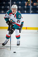 KELOWNA, CANADA - SEPTEMBER 2: Left wing Nolan Foote #29 of the Kelowna Rockets warms up with the puck against the Victoria Royals on September 2, 2017 at Prospera Place in Kelowna, British Columbia, Canada.  (Photo by Marissa Baecker/Shoot the Breeze)  *** Local Caption ***