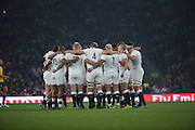 England players getting ready for a giant task during the Rugby World Cup Pool A match between England and Australia at Twickenham, Richmond, United Kingdom on 3 October 2015. Photo by Matthew Redman.