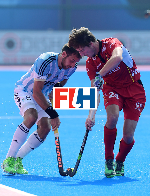 Odisha Men's Hockey World League Final Bhubaneswar 2017<br /> Match id:03<br /> Argentina v Belgium<br /> Foto: Nahuel Salis (Arg) in dual with Antoine Kina (Bel) <br /> WORLDSPORTPICS COPYRIGHT FRANK UIJLENBROEK