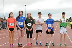 Marathon Competitors at the Mayo Community Games from left Niamh McCann(Swinford) Eorna Mulroy (Straide) Bridget Mills (Ballina), Conor McLoughlin (Ardagh) Liam McCann (Swinford) and Thomas Devaney (Islandeady)<br /> Pic Conor McKeown