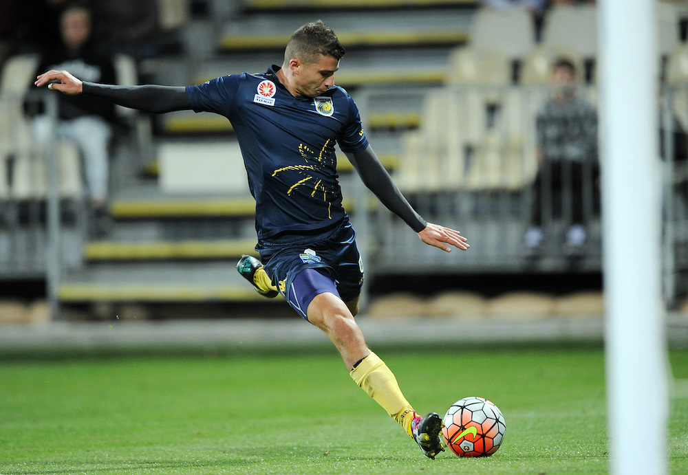Central Coast Mariners' Mitchell Austin lines up his goal against the Phoenix in the A-League football match at AMI Stadium, Christchurch, New Zealand, Saturday, January 30, 2016. Credit:SNPA / Ross Setford