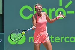 March 29, 2018 - Miami, FL, United States - KEY BISCAYNE, FL - MARCH, 29: Viktoria Azarenka in action during day 11 of the 2018 Miami Open held at the Crandon Park Tennis Center on March 29, 2018 in Key Biscayne, Florida. (Credit Image: © Andrew Patron via ZUMA Wire)