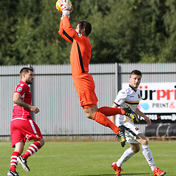 John Danby picks the ball out the air  during the Dumbarton v Connah's Quay Nomads Irn Bru cup second round 2 September 2017<br /> <br /> <br /> <br /> <br /> (c) Andy Scott | SportPix.org.uk