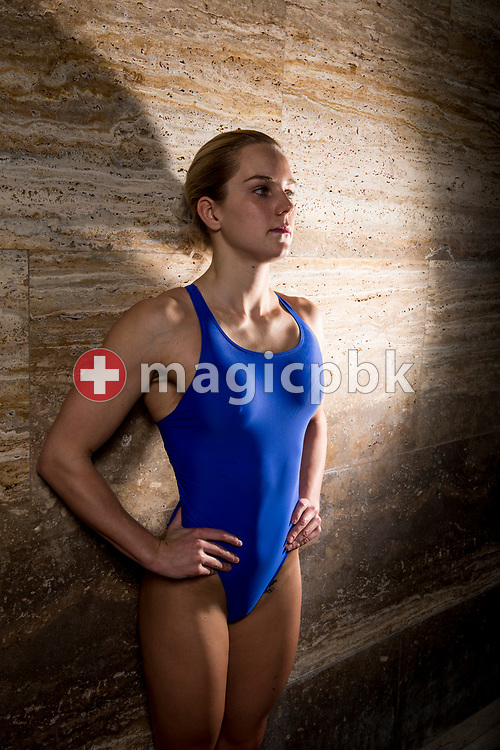 Swimmer Sasha TOURETSKI of Switzerland poses for a portrait during a photo session during the Swiss Swimming Championships at the Piscine des Vernets in Geneva, Switzerland, Sunday, March 26, 2017. (Photo by Patrick B. Kraemer / MAGICPBK)