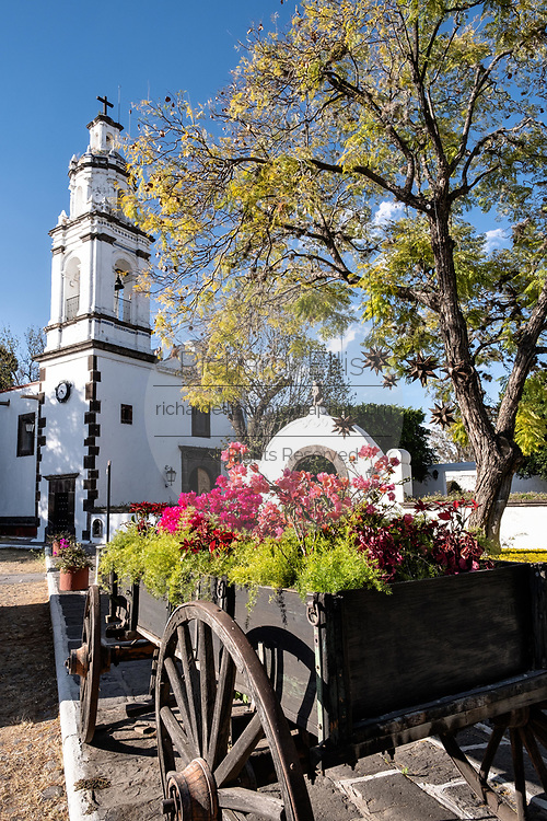 Private chapel and courtyard at the historic Hacienda Galindo, a 16th century estate once owned by the Spanish Conquistador Hernando Cortes, in San Juan del Rio, Queretaro, Mexico. The hacienda is now a hotel and resort owned and operated by Fiesta Americana.