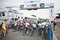 Riders start to line up behind the start line before the start of the 121.5 km road race of the UCI Women's World Tour's 2016 Grand Prix Plouay women's road cycling race on August 27, 2016 in Plouay, France. (Photo by Balint Hamvas/Velofocus)