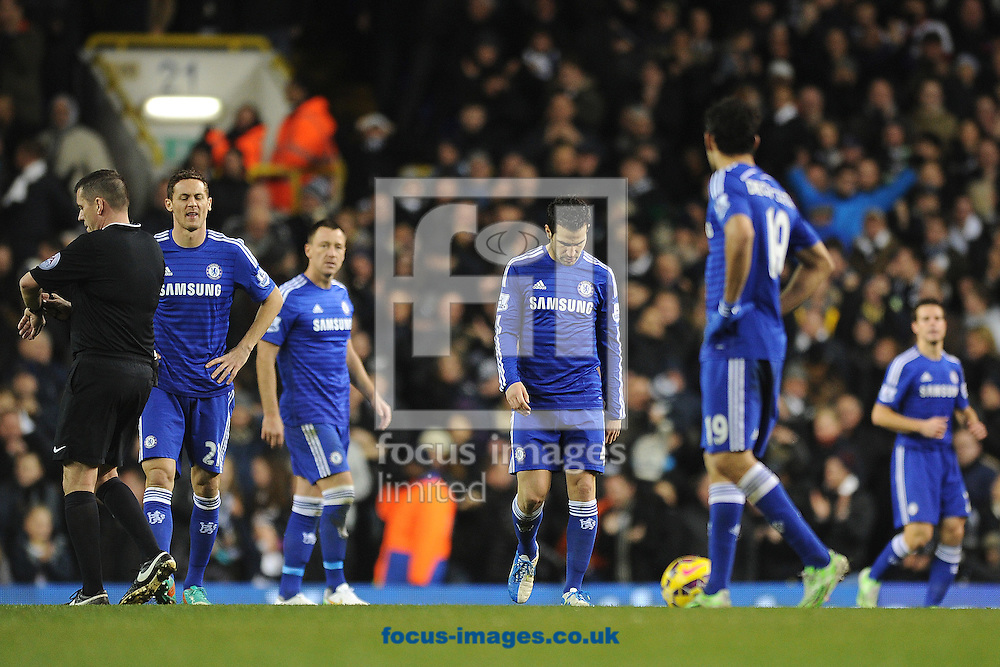 Cesc Fabregas of Chelsea and players look dejected after they concede their sides fourth goal of the game during the Barclays Premier League match between Tottenham Hotspur and Chelsea  at White Hart Lane, London<br /> Picture by Richard Blaxall/Focus Images Ltd +44 7853 364624<br /> 01/01/2015