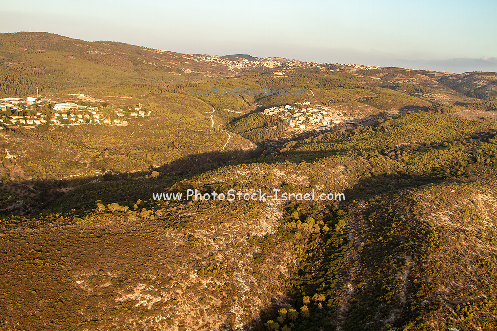 Rural village and landscape as seen from the Carmel Mountain range, Israel