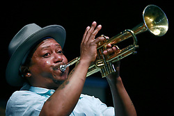 28 April 2013. New Orleans, Louisiana,  USA. .Kermit Ruffins plays the Blues Tent at the New Orleans Jazz and Heritage Festival. .Photo; Charlie Varley.