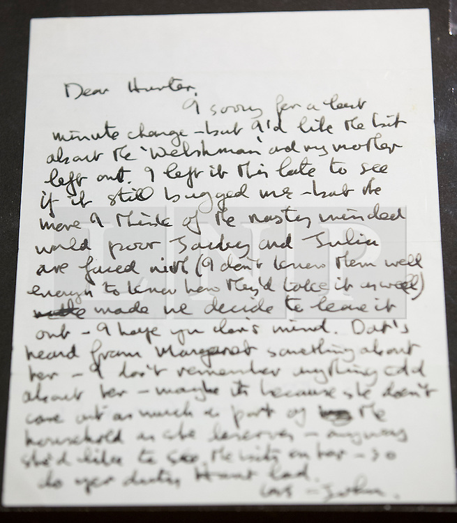 "© Licensed to London News Pictures. 22/05/2013. London, UK. A letter from John Lennon to acclaimed Beatles biographer Hunter Davies is seen after being presented to the British Library Mr Davies in London today (22/05/2013). The manuscript, along with others and correspondence between John Lennon and Mr Davies, have been donated to the library under the ""lifetime giving"" scheme. Photo credit: Matt Cetti-Roberts/LNPPhoto credit: Matt Cetti-Roberts/LNP"