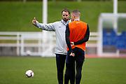 England manager Gareth Southgate chatting to Ross Barkley (Chelsea) during the England training session ahead of the UEFA Euro Qualifier against the Czech Repulbic, at St George's Park National Football Centre, Burton-Upon-Trent, United Kingdom on 19 March 2019.