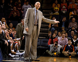 Virginia head coach Dave Leitao disputes a call in the second half against VMI. The Virginia Cavaliers defeated the Virginia Military Institute Keydets 107-97 in NCAA Basketball at the John Paul Jones Arena on the Grounds of the University of Virginia in Charlottesville, VA on November 16, 2008.