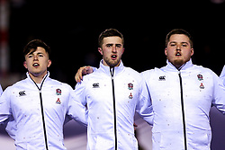 Kieran Wilkinson, Tom de Glanville and Alfie Petch of England U20 - Mandatory by-line: Robbie Stephenson/JMP - 22/02/2019 - RUGBY - Zip World Stadium - Colwyn Bay, Wales - Wales U20 v England U20 - Under-20 Six Nations