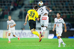 Julian Weigl of Borussia Dortmund vs Silvio Carlos De Oliveira of WAC during football match between WAC Wolfsberg (AUT) and  Borussia Dortmund (GER) in First leg of Third qualifying round of UEFA Europa League 2015/16, on July 30, 2015 in Wörthersee Stadion, Klagenfurt, Austria. Photo by Vid Ponikvar / Sportida
