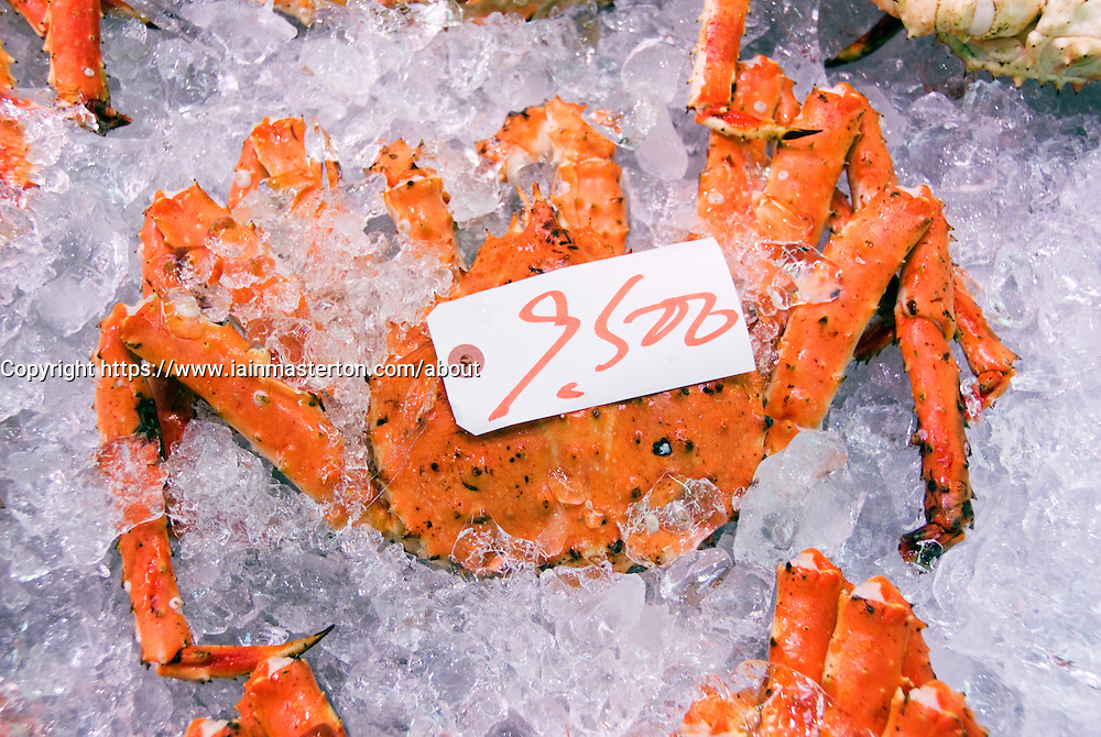 Fresh red crabs for sale at fish market in Hakodate Hokkaido Japan