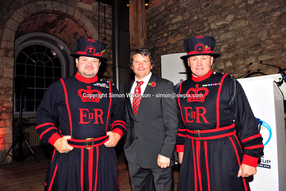 PICTURE BY SIMON WILKINSON/SWPIX.COM...Rugby League - Gillette 4 Nations 2011 - Rugby League International Federation International Player of the Year Awards 2011 - Tower of London, London, England - 02/11/11…Wales Captain Lee Briers pictured with Yoeman Warders at the Tower of London.