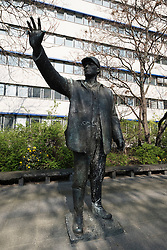 Worker sculpture on Karl Liebknecht Strasse in Mitte Berlin Germany