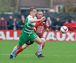 NEWTOWN, WALES - Saturday, May 2, 2015: The New Saints' Chris Marriott in action against Newtown during the FAW Welsh Cup final match at Latham Park. (Pic by Ian Cook/Propaganda)
