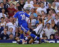 Photo: Daniel Hambury.<br />Fulham v Chelsea. The Barclays Premiership. 23/09/2006.<br />Fulham's Michael Brown challanges Chelsea's Petr Cech.