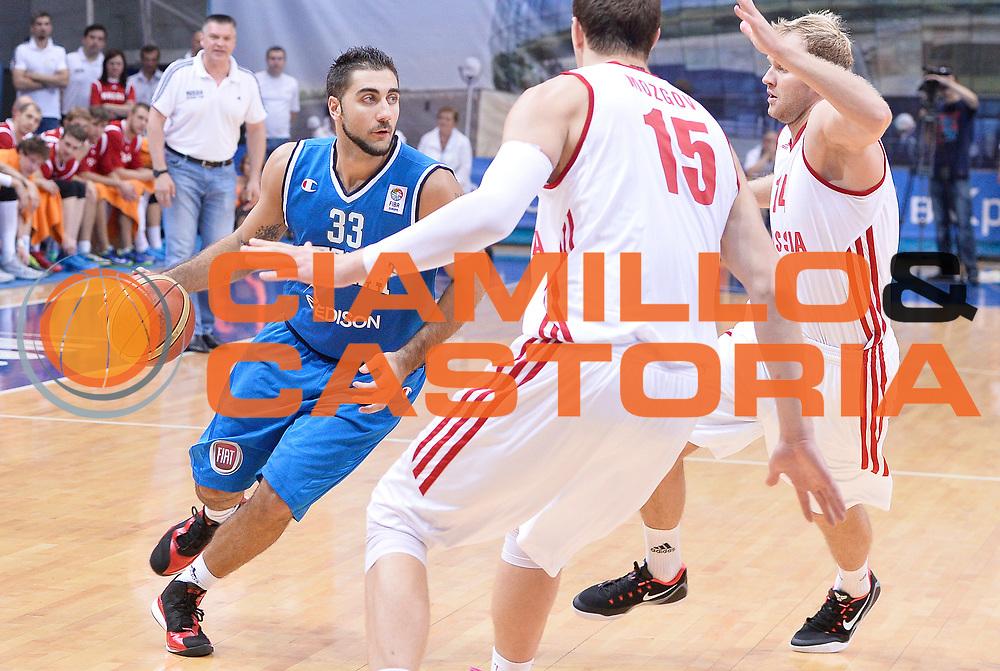 DESCRIZIONE : Mosca Moscow Qualificazione Eurobasket 2015 Qualifying Round Eurobasket 2015 Russia Italia Russia Italy<br /> GIOCATORE : Pietro Aradori<br /> CATEGORIA :  <br /> EVENTO : Mosca Moscow Qualificazione Eurobasket 2015 Qualifying Round Eurobasket 2015 Russia Italia Russia Italy<br /> GARA : Russia Italia Russia Italy<br /> DATA : 13/08/2014<br /> SPORT : Pallacanestro<br /> AUTORE : Agenzia Ciamillo-Castoria/R.Morgano<br /> Galleria: Fip Nazionali 2014<br /> Fotonotizia: Mosca Moscow Qualificazione Eurobasket 2015 Qualifying Round Eurobasket 2015 Russia Italia Russia Italy<br /> Predefinita :
