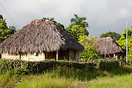 Thatched houses in Vista Alegre, Holguin, Cuba.