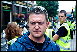 """Tommy Robinson attends the protest against what the EDL sees as the influence of Islam in the Tower Hamlets area of London, United Kingdom. Saturday, 7th September 2013. Picture by Piero Cruciatti / i-ImagesFile Photo - EDL leaders Tommy Robinson & Kevin Carroll quit group. English Defence League leader and founder Tommy Robinson has left the group, saying he has concerns over the """"dangers of far-right extremism"""". Mr Robinson's co-leader, Kevin Carroll, has also opted to leave.  Picture by Piero Cruciatti / i-Images. Filed Tuesday 8 October, 2013"""