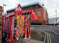 Football - 2019 / 2020 Premier League - Liverpool vs. Wolverhampton Wanderers<br /> <br /> Merchandise on sale before today's game, at Anfield.<br /> <br /> COLORSPORT/ALAN MARTIN