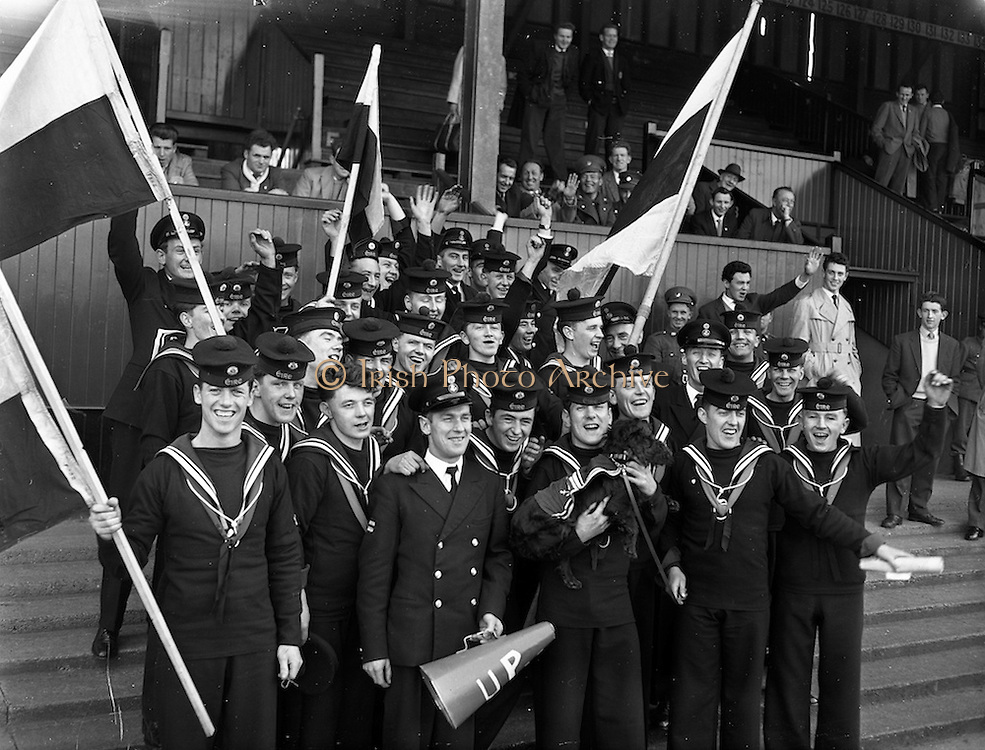 15/03/1961<br /> 03/15/1961<br /> 15 March 1961<br /> Soccer; Army soccer final, Air Corps v Navy at Dalymount Park, Dublin. Some of the Navy supporters enjoy the time ashore.