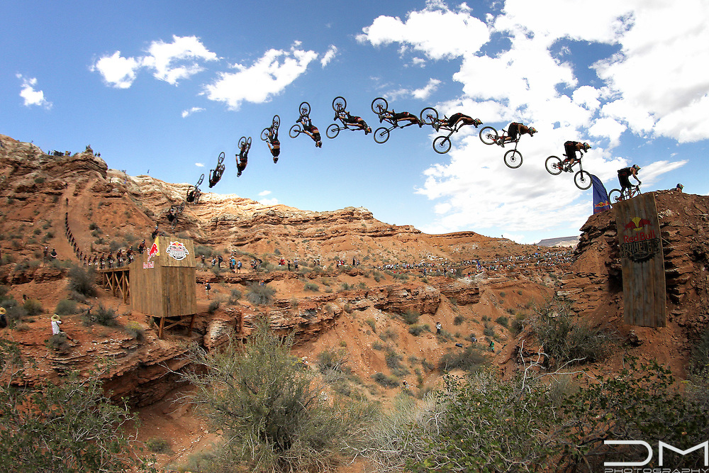 Szymon Godziek doing a backflip at the Canyon Gap in the Red Bull Rampage in Virgin (Utah).