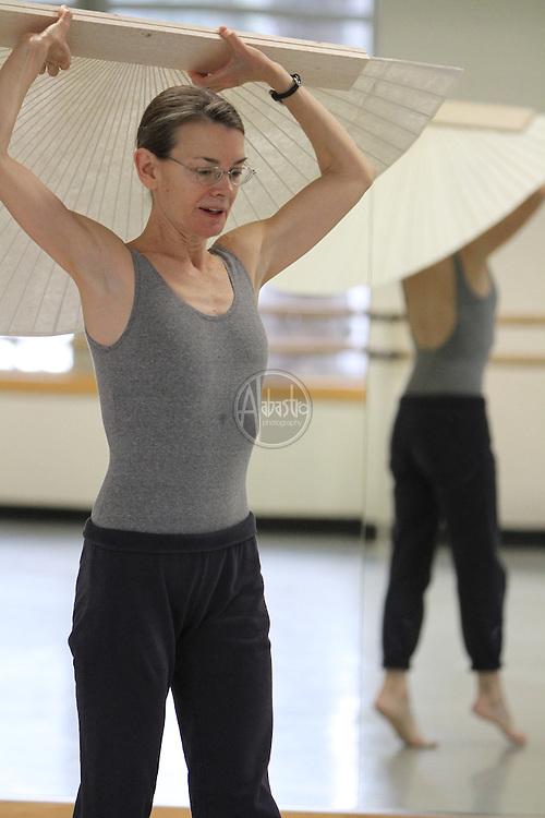 "Choreographer and Dancer, Molissa Fenley, working with Seattle Dance Project dancers on ""Planes In Air""."